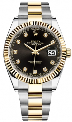 Rolex Datejust 41mm Steel and Yellow Gold 126333 Black Diamond Oyster