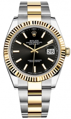 Rolex Datejust 41mm Steel and Yellow Gold 126333 Black Index Oyster