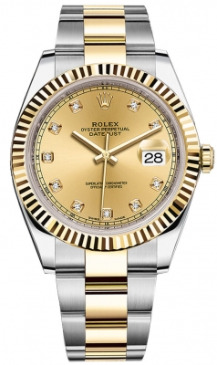 Rolex Datejust 41mm Steel and Yellow Gold 126333 Champagne Diamond Oyster