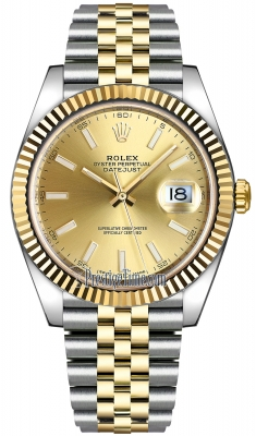 Rolex Datejust 41mm Steel and Yellow Gold 126333 Champagne Index Jubilee