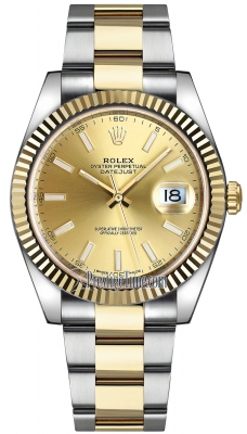 Rolex Datejust 41mm Steel and Yellow Gold 126333 Champagne Index Oyster
