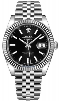 Rolex Datejust 41mm Stainless Steel 126334 Black Index Jubilee