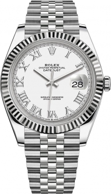 Rolex Datejust 41mm Stainless Steel 126334 White Roman Jubilee
