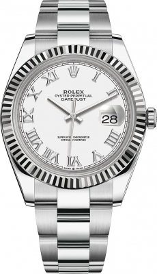 Rolex Datejust 41mm Stainless Steel 126334 White Roman Oyster