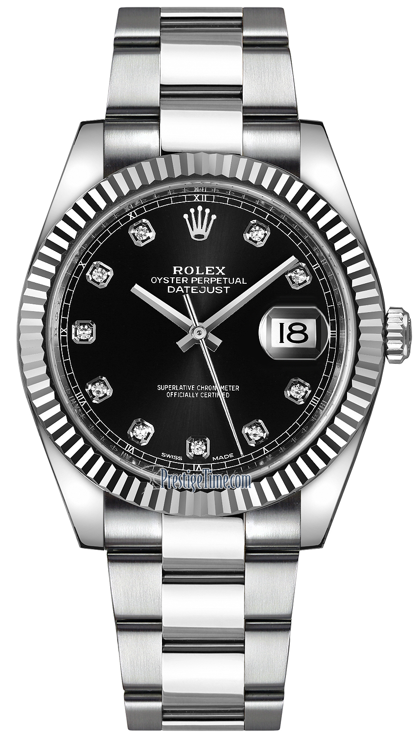 3cc10b47dde 126334 Black Diamond Oyster Rolex Datejust 41mm Stainless Steel Mens ...