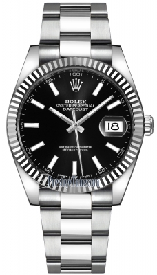 126334 Black Index Oyster Rolex Datejust 41mm Stainless ...