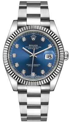 Rolex Datejust 41mm Stainless Steel 126334 Blue Diamond Oyster