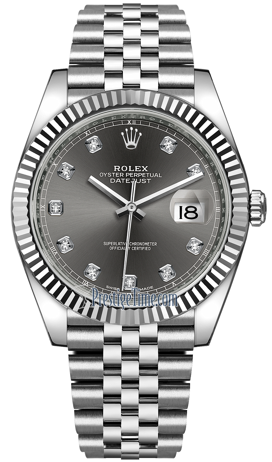Rolex Datejust 41mm Stainless Steel 126334 Dark Rhodium Diamond Jubilee