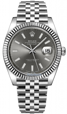 Rolex Datejust 41mm Stainless Steel 126334 Dark Rhodium Index Jubilee