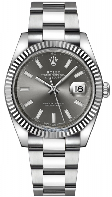 Rolex Datejust 41mm Stainless Steel 126334 Dark Rhodium Index Oyster