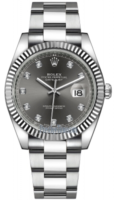 Rolex Datejust 41mm Stainless Steel 126334 Dark Rhodium Diamond Oyster