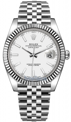 Rolex Datejust 41mm Stainless Steel 126334 White Index Jubilee