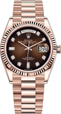Rolex Day-Date 36mm Everose Gold 128235 Brown Graduated Diamond