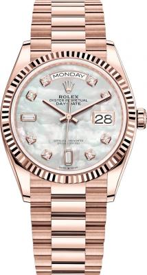 Rolex Day-Date 36mm Everose Gold 128235 MOP Diamond