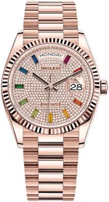 Rolex Day-Date 36mm Everose Gold 128235 Pave Rainbow