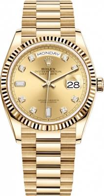 Rolex Day-Date 36mm Yellow Gold 128238 Champagne Diamond