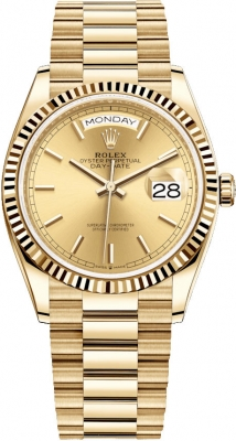 Rolex Day-Date 36mm Yellow Gold 128238 Champagne Index