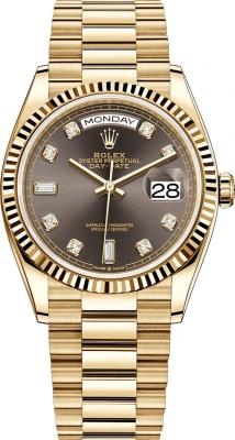 Rolex Day-Date 36mm Yellow Gold 128238 Dark Grey Diamond