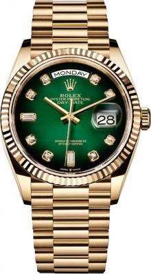 Rolex Day-Date 36mm Yellow Gold 128238 Green Graduated Diamond