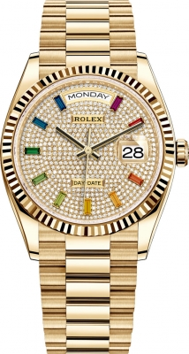 Rolex Day-Date 36mm Yellow Gold 128238 Pave Rainbow
