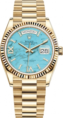 Rolex Day-Date 36mm Yellow Gold 128238 Turquoise
