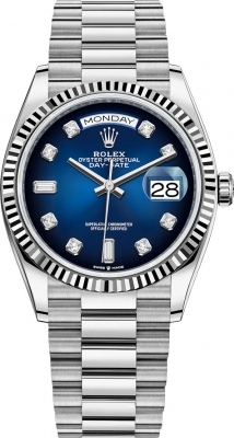 Rolex Day-Date 36mm White Gold 128239 Blue Graduated Diamond