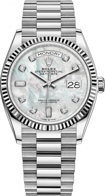 Rolex Day-Date 36mm White Gold 128239 MOP Diamond
