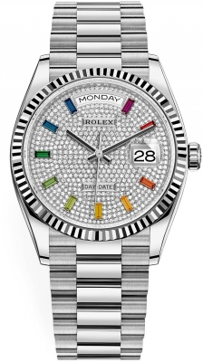 Rolex Day-Date 36mm White Gold 128239 Pave Rainbow