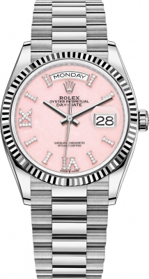 Rolex Day-Date 36mm White Gold 128239 Pink Opal