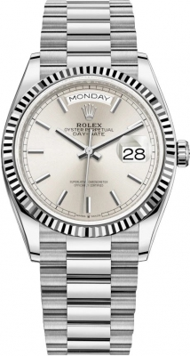 Rolex Day-Date 36mm White Gold 128239 Silver Index