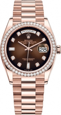 Rolex Day-Date 36mm Everose Gold 128345RBR Brown Graduated Diamond