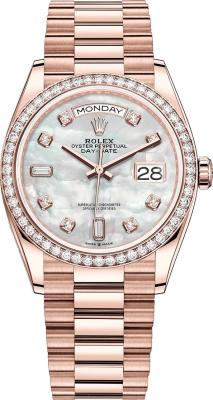 Rolex Day-Date 36mm Everose Gold 128345RBR MOP Diamond