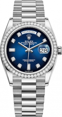 Rolex Day-Date 36mm White Gold 128349RBR Blue Graduated Diamond