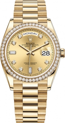 Rolex Day-Date 36mm Yellow Gold 128348RBR Champagne Diamond