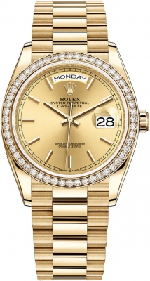 Rolex Day-Date 36mm Yellow Gold 128348RBR Champagne Index
