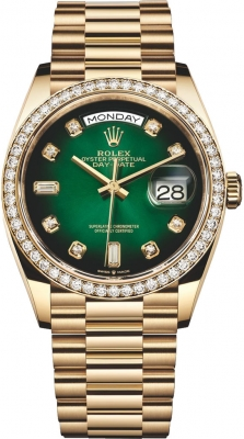 Rolex Day-Date 36mm Yellow Gold 128348RBR Green Graduated Diamond