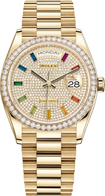 Rolex Day-Date 36mm Yellow Gold 128348RBR Pave Rainbow