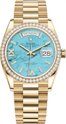 Rolex Day-Date 36mm Yellow Gold 128348RBR Turquoise