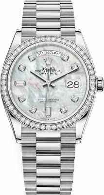 Rolex Day-Date 36mm White Gold 128349RBR MOP Diamond