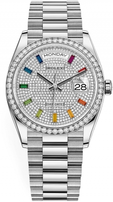 Rolex Day-Date 36mm White Gold 128349RBR Pave Rainbow