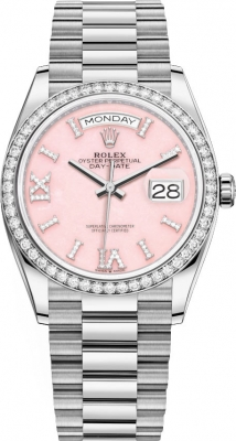 Rolex Day-Date 36mm White Gold 128349RBR Pink Opal