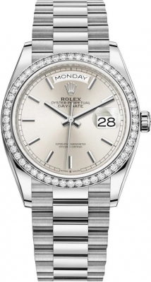 Rolex Day-Date 36mm White Gold 128349RBR Silver Index