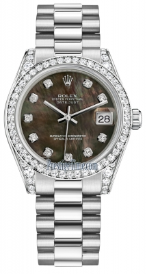 Rolex Datejust 31mm White Gold 178159 Black MOP Diamond President