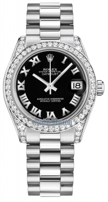 Rolex Datejust 31mm White Gold 178159 Black Roman President