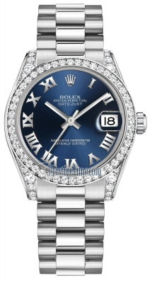 Rolex Datejust 31mm White Gold 178159 Blue Roman President