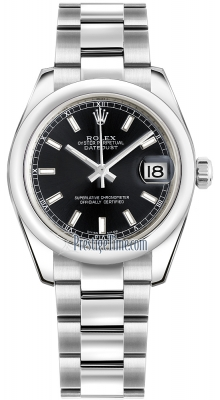 Rolex Datejust 31mm Stainless Steel 178240 Black Index Oyster