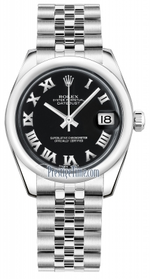 Rolex Datejust 31mm Stainless Steel 178240 Black Roman Jubilee