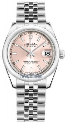 Rolex Datejust 31mm Stainless Steel 178240 Pink Index Jubilee