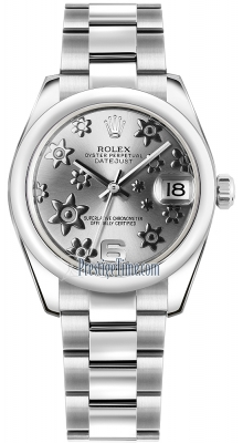 Rolex Datejust 31mm Stainless Steel 178240 Rhodium Floral Oyster