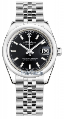 Rolex Datejust 31mm Stainless Steel 178240 Black Index Jubilee